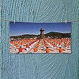 AuraiseHome fitness towel Square dance No Fading Multipurpose L35.4 x W11.8 INCH