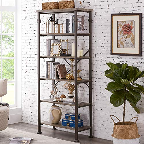 Hombazaar 6-Tier Tall Bookshelf, Vintage Industrial Metal Bookcase Display Rack and Storage Organizer for Living Room, Grey Oak (Units Room Oak Shelving Living)