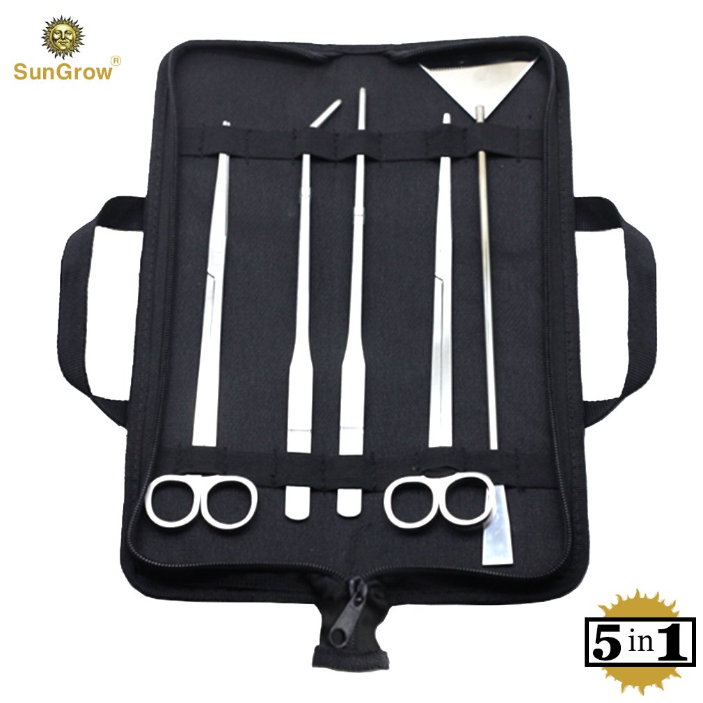 SunGrow Aquarium Tool Kit, Stainless Steel Aquatic Plant Tweezers, Scissors and Spatula, Tank Aquascaping Starter Set, Includes Black Case, 5-in-1 by SunGrow