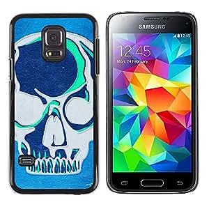 Shell-Star Arte & diseño plástico duro Fundas Cover Cubre Hard Case Cover para Samsung Galaxy S5 Mini / Samsung Galaxy S5 Mini Duos / SM-G800 !!!NOT S5 REGULAR! ( Teal Blue Artistic Skull Grey Art Graffiti )