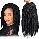 Admutty Havana Mambo Twist Crochet Hair 6 Packs 12 inch Crochet Braids Senegalese Twist Crochet Braiding Hair (1B)