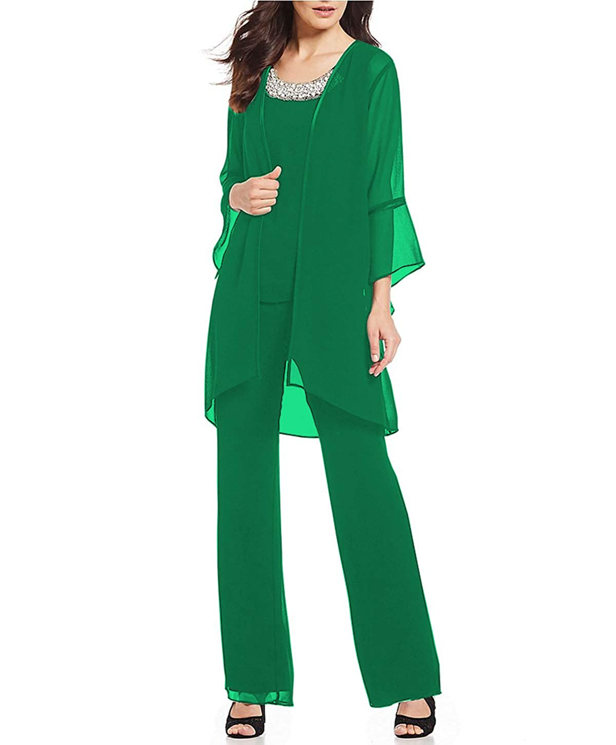 Green Aesido Women's Mother of The Bride Pant Suits 3 Pieces Evening Special Occasion Dress Ouftit Groom Wedding