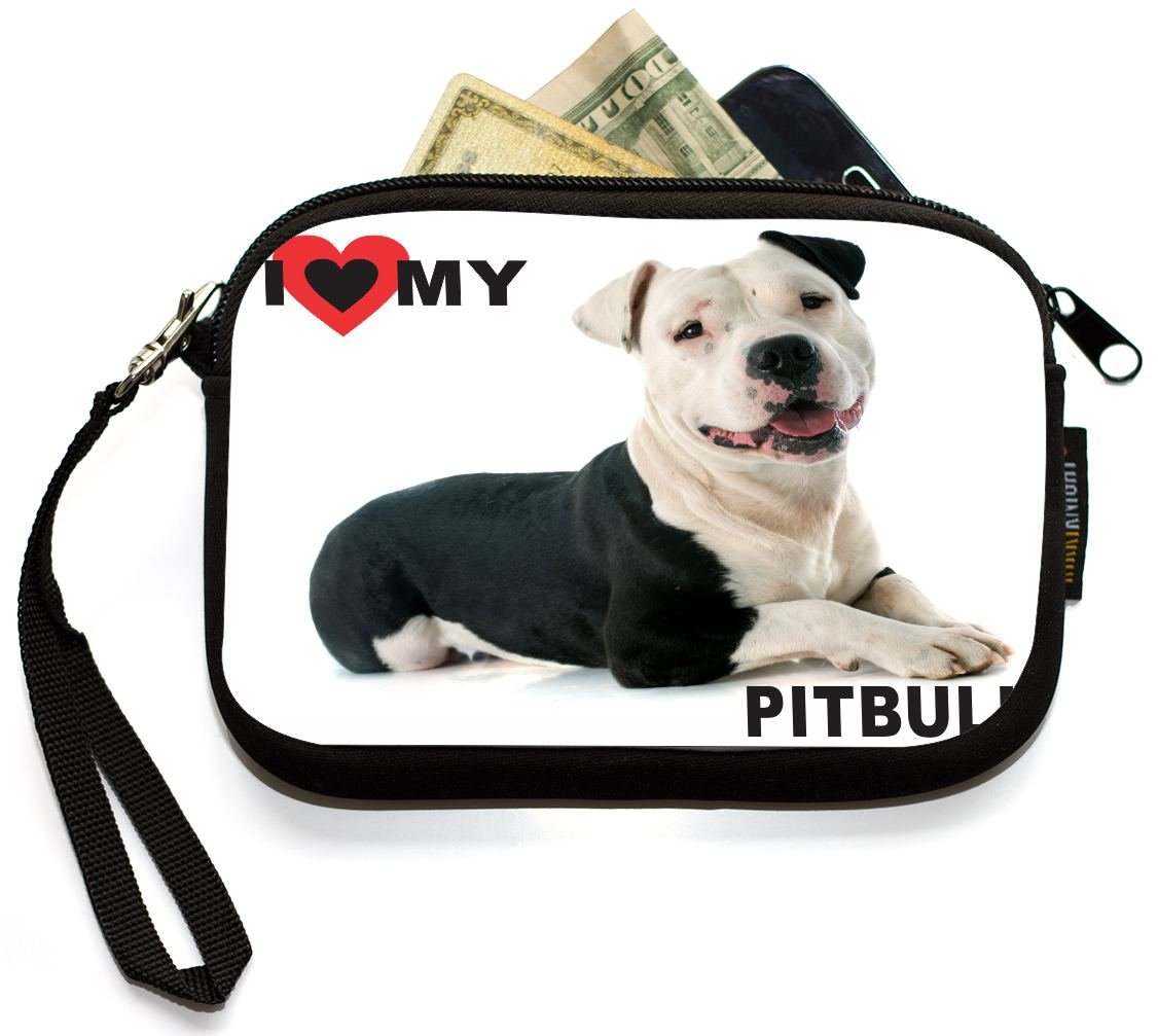 UKBK I Love My Black and White Pitbull Dog Neoprene Clutch Wristlet with Safety Closure - Ideal case for Camera, Universal Cell Phone Case etc.. by Rikki Knight (Image #2)