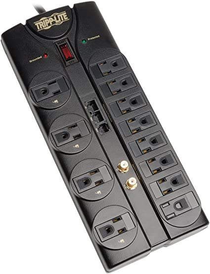 Cord 2880 Joules //Modem//... Tripp Lite 8 Outlet Surge Protector Power Strip 8ft