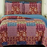 Coverlet Quilt Set 3 Piece Full Queen Size Oversized (92x96) Printed Patchwork Paisley Floral Pattern Blue Purple Lightweight Reversible Hypoallergenic Vintage Country Bedding