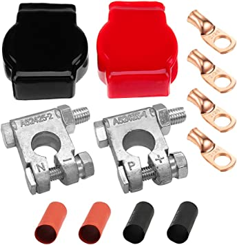Ampper Lead Alloy Military Spec Battery Terminal Ends 1 Pair Top Post Battery Terminals Clamp Set for Marine Car Boat RV Vehicles