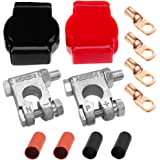 Ampper Military Spec Battery Terminal Top Post Kit with Cover, 4 Copper Lugs and Heatshrink for Marine Car Boat RV Vehicles a