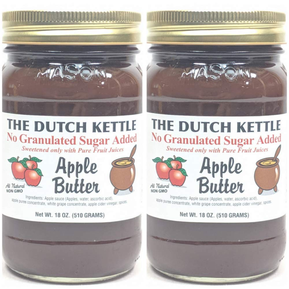 The Dutch Kettle Amish Homemade Style SUGAR FREE Apple Butter 2 - 18 Oz Reusable Jars