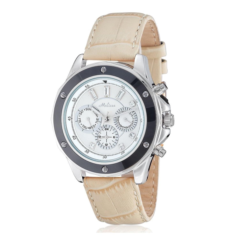 Uhr-Kristall Swarovski Elements Weiß und Beige-Leder-Armband - Blue Pearls - CW 0037 M