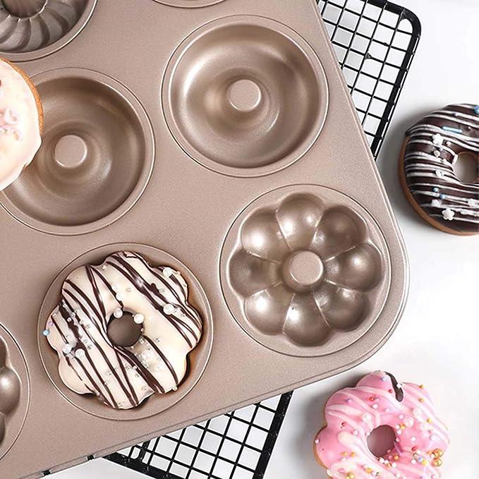 FOOX Molde para Donut, 12 Cavidades Hornear Donut ...