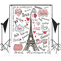 5x7ft Cartoon Painting Paris Eiffel Tower Photography Backdrop no Crease Birthday Background for Children FT0438