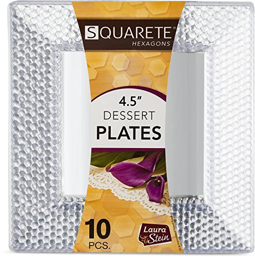 Squarete Hexagons Crystal Clear Hard Plastic Elegant Disposable 4.5'' inch Square Desset Plates 10 Plates Per Package