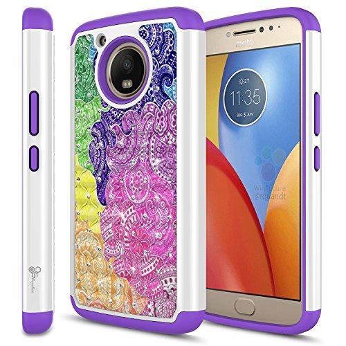 NageBee [Glitter Diamond] Case Compatible with Moto E4 Plus (4th Gen) [Hybrid Protective] Soft Silicone Cover with [Studded Rhinestone Bling] Design Diamond Glitter Case - (Rainbow)