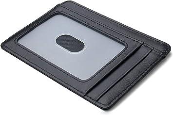 Schwarz Yosemy Geldb/örse mit Geldb/örse mit Schutz f/ür RFID Karten Hochwertiges italienisches Leder Ultrad/ünne Au/ßentasche und Platz f/ür bis zu 9 Karten und Bargeld