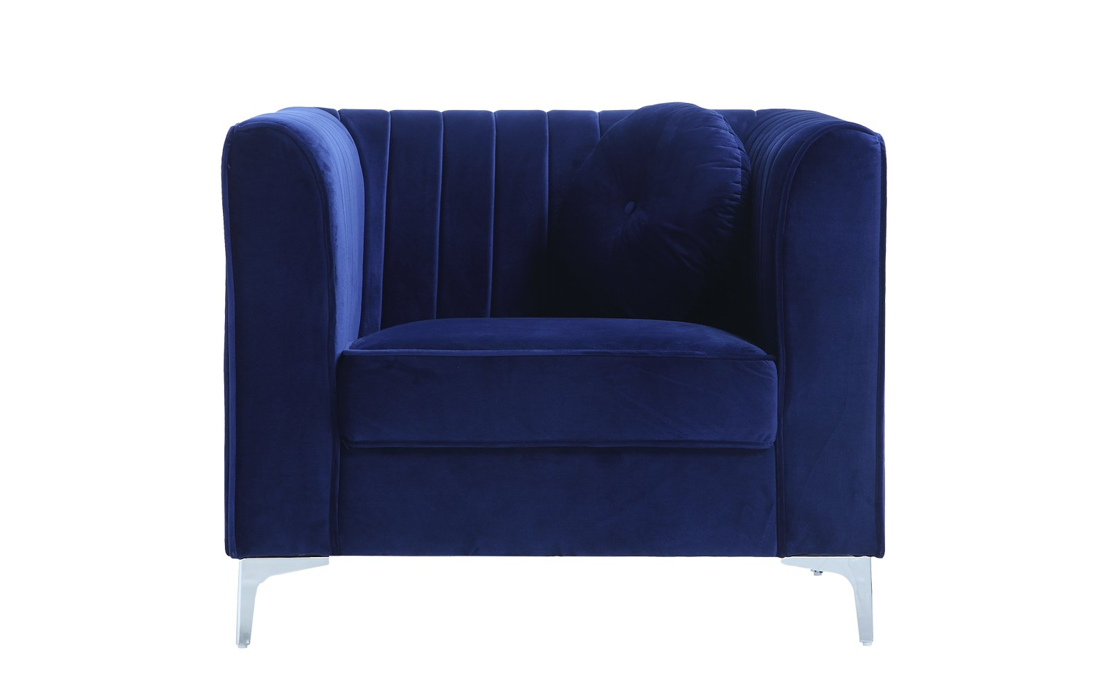 Classic and Traditional Living Room Marilyn Velvet Armchair, Club Chair with Tufted Accent Pillows (Blue) - Traditional club style velvet living room armchair / club chair with pleated details, legs, and 1 round accent pillow Upholstered in hand picked soft velvet fabric in bright pop colors to make a statement in your home and bring a touch of modernism The pleated back details provides a simplistic and the tufted accent pillows bring a subtle touch of sophistication to this chair - living-room-furniture, living-room, accent-chairs - 61hMDnIgYkL -