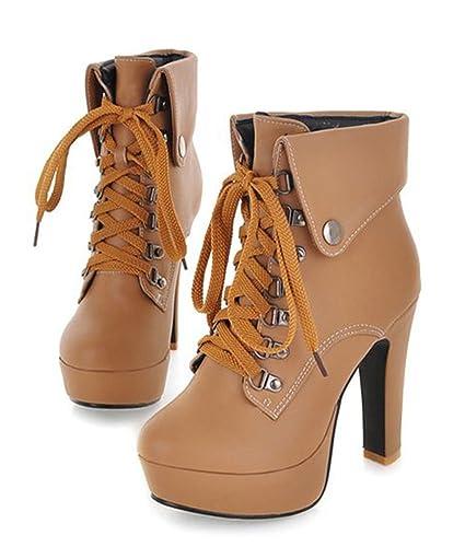 0de65ea737c9 SFNLD Women s Fall Spring High Heel Short Stiletto Boots Apricot 4 B(M) US