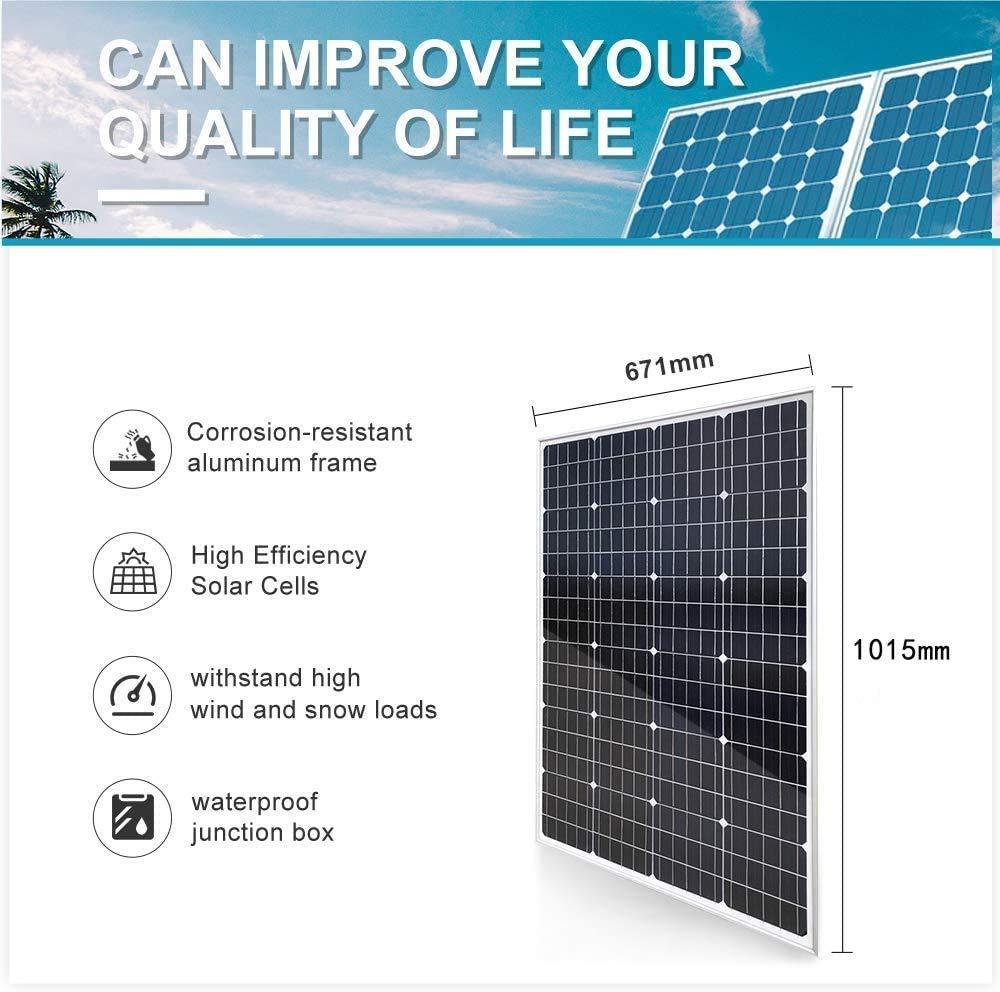 hogar barco panel solar monocristalino de 120W 12V para casa Cargar bater/ías jard/ín caravana