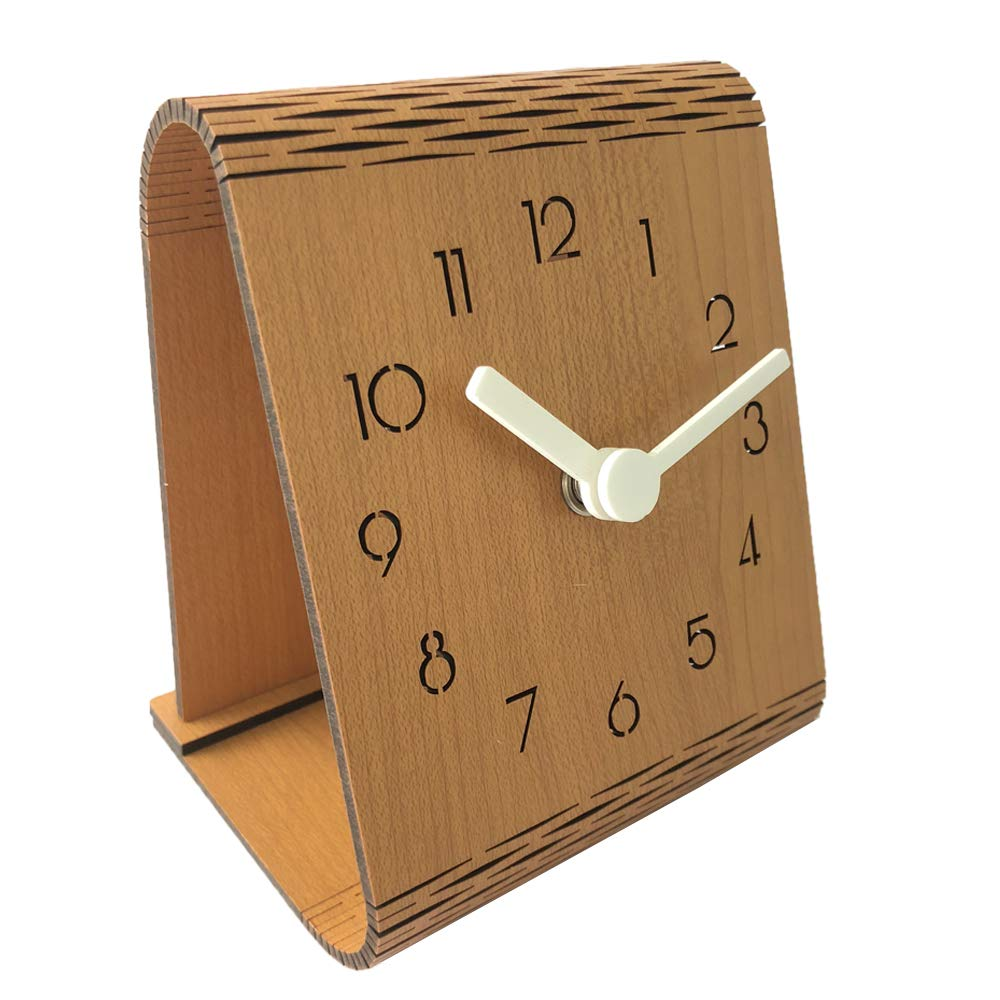 Justup Wooden Curved Table Clock, Silent Beside Clock with Non-Ticking Accurate Sweep Movement Flexible Simple Desk Mantle Clock for Home Decor (Brown)