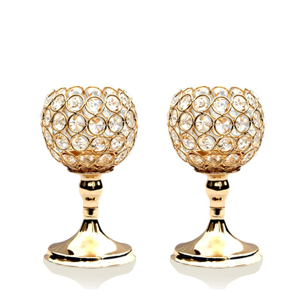 VINCIGANT Gold Crystal Bowl Candlestick Holders for Modern Table Centerpieces,Anniversary Celebration Gifts,8 Inches Tall