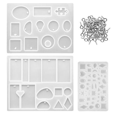 Meetory - Juego de 3 moldes de silicona para joyas de estilo variado de resina con