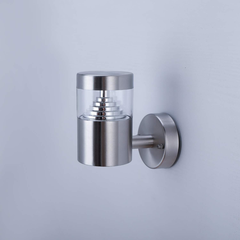 NBHANYUAN Lighting/® LED Lampe Exterieur Applique Murale Ext/érieur Acier Inoxydable Luminaire Argent 4.5W 220V-240V 3000K IP44 Sans Capteur PIR