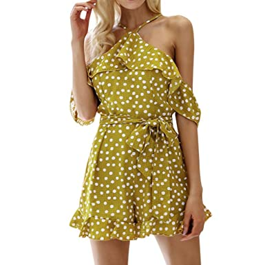 5cf6518be0d6 Fat.chot Women s Jumpsuits Cold Shoulder Dot Printed Short Sleeves Overalls  Ruffles Halter Neck Playsuit Short Pants with Belt Casual Sexy Holiday  Rompers