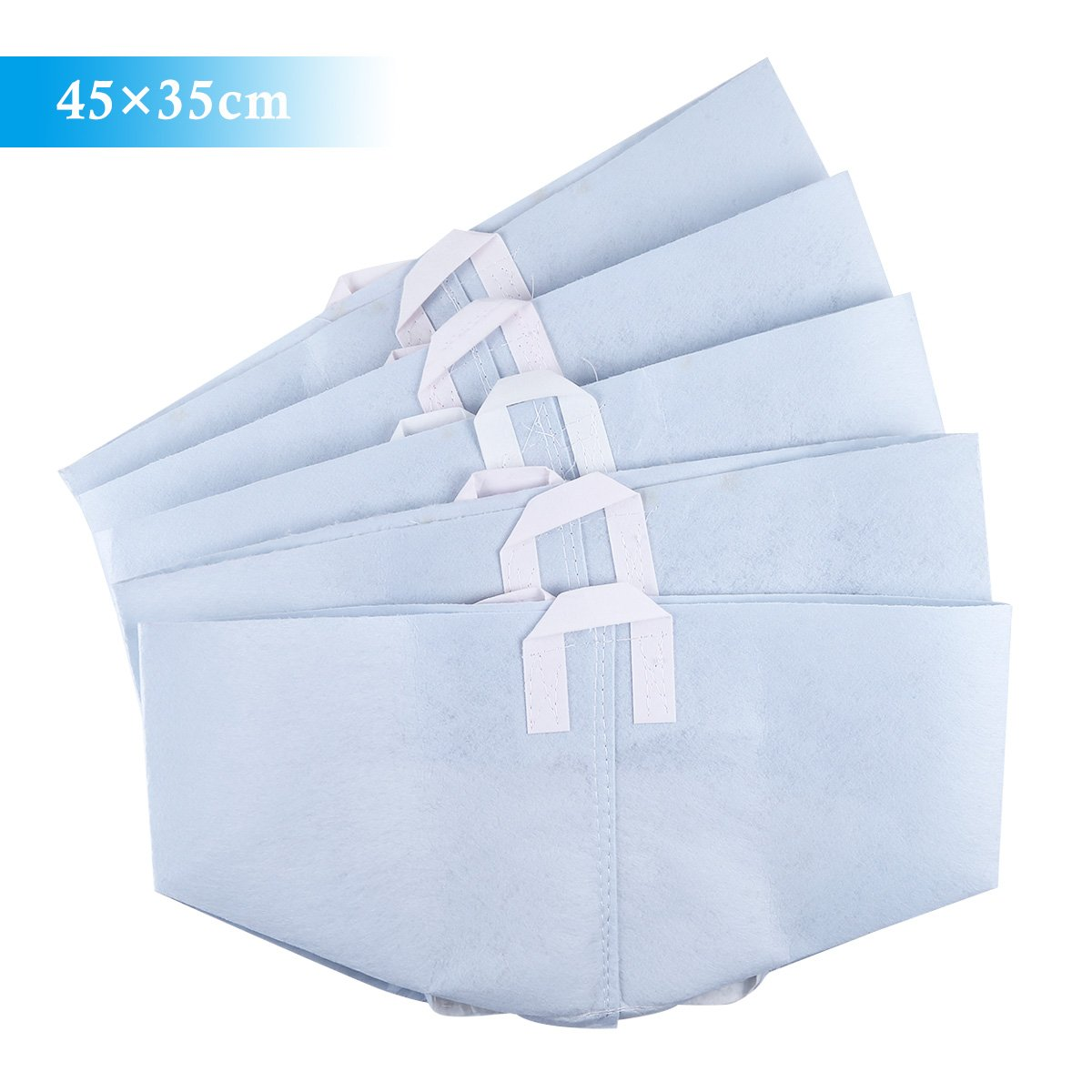 Freebily 5pcs Thickened Non-woven Garden Planting Grow Bags Smart Plant Pots Container with Handles Light Blue 45×35cm
