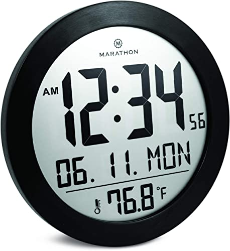 Marathon Round Digital Wall Clock with Date and Indoor Temperature. Large 8.5 Inches Diameter with Stand – Batteries Included – CL030069BS Black Stainless Finish