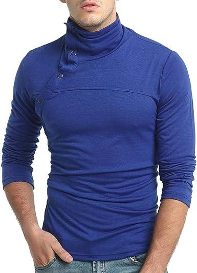 casual Camiseta de manga larga para hombre cuello medio alto color s/ólido de color s/ólido para hombre
