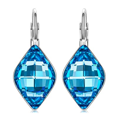 bbcf16738 J.NINA Clip-on Earrings Women Sapphire Swarovski Crystals Drop Dangle  Anniversary Thanksgiving Valentines