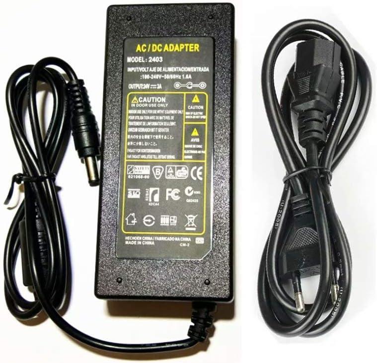 Fuente de Alimentación 24V 3A 72W Transformador para Tiras LED,Cámara,LCD de TFT