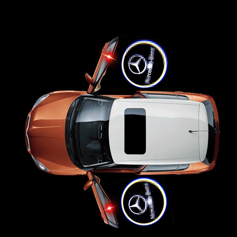 2 Pcs Wireless Car Door Logo Light Welcome Projector for Mercedes-Benz Ghost Shadow Light Lamp Logos for Benz Benz A