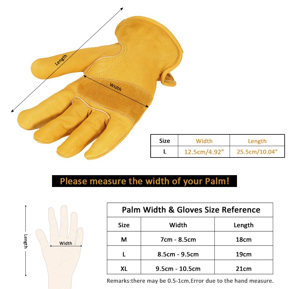 KKmoon Mens Work Cowhide Gloves Gardening Digging Planting Leather Working Gloves Flower Pruning Protective Glove Driver Security Non-Slip Protection Wear Safety Workers Welding Motorcycle Gloves