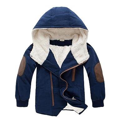 Manteaux à capuche Garçons Enfant Hiver Chaud Longra Vestes avec fausse  fourrure Ultra Épais Vêtements d b75705f449b