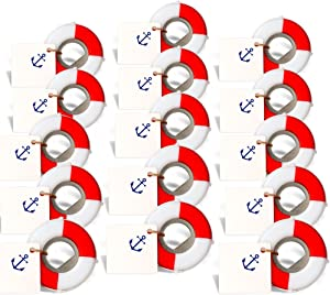 PartyTalk 50pcs Nautical Wedding Favors Lifesaver Bottle Opener with Anchor Tags and String Beach Wedding Gifts Nautical Baby Shower Birthday Party Decorations