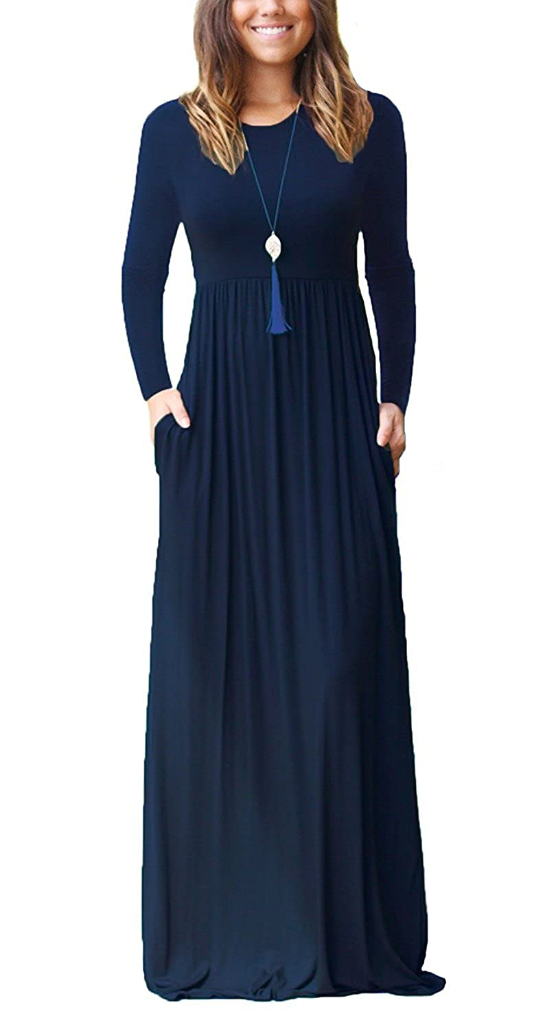 01 Navy bluee Long Sleeves HIYIYEZI Women's Short Sleeve Loose Plain Maxi Dresses Casual Long Dresses with Pockets