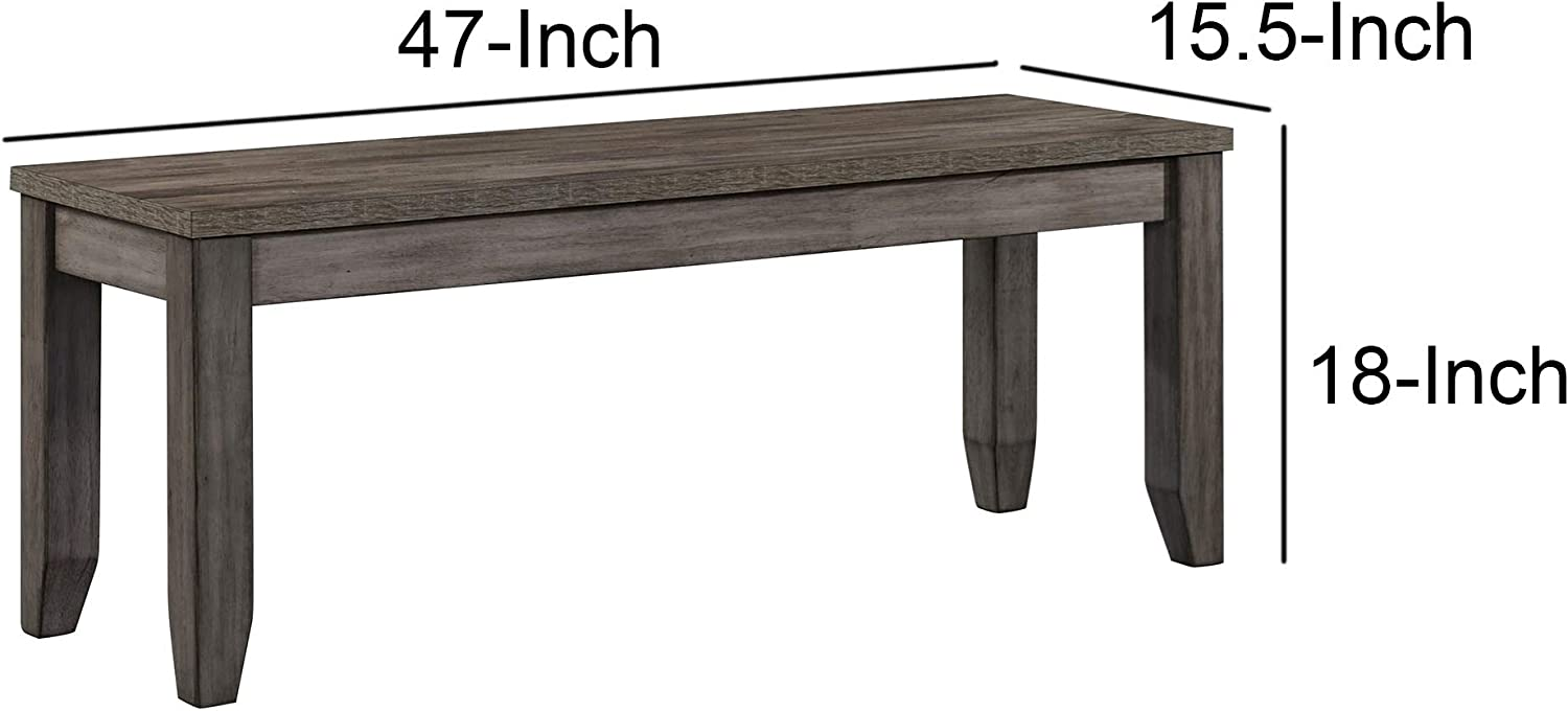 Gray Benjara Wooden Frame Bench with Chamfered Legs and Grain Details