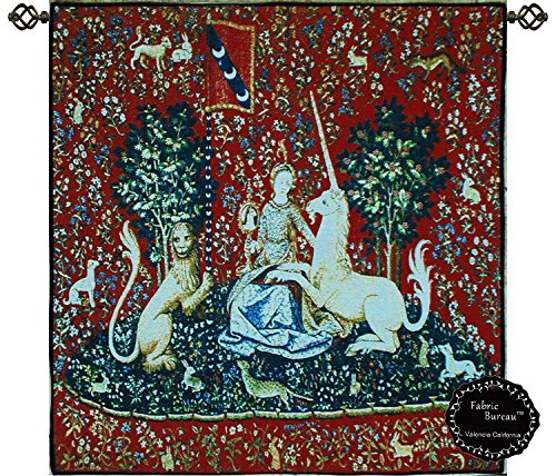 "Decor Plus Beautiful Sight-medieval Lady & Unicorn Lion Horse Jacquard Woven Tapestry Wall Hanging (Yw101) (30.5""x 31.5"")"