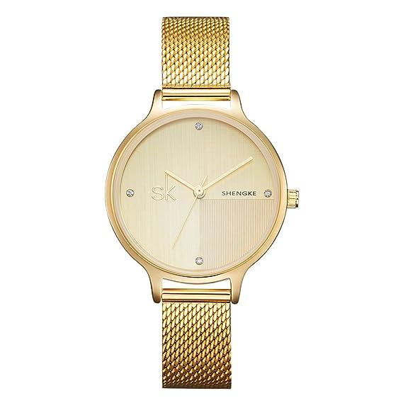 729221435c9a shengke para mujer relojes correa de acero resistente al agua reloj de  pulsera de cuarzo de Simple elegante funda para las mujeres  Amazon.es   Relojes