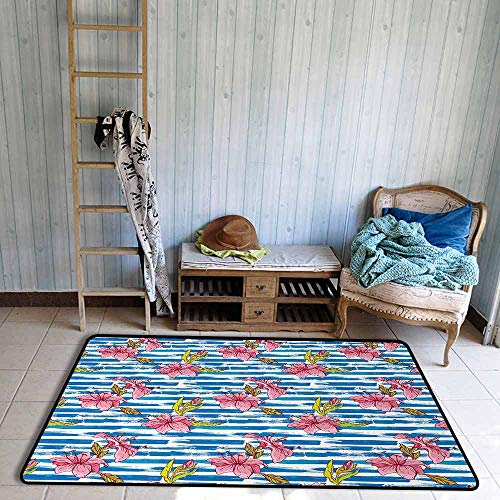 Bath Rug Floral Lilies on Horizontal Striped Grunge Paintbrush Background Tropic Accents Hard and wear Resistant W47 xL71 Violet Blue Pale - Sassy Pad Lily