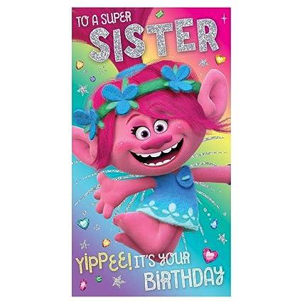 Trolls Tarjeta de cumpleaños para hermana: Amazon.es ...