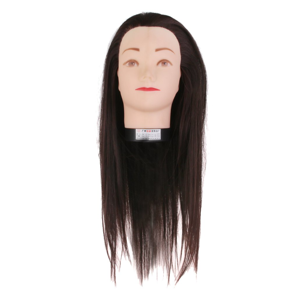 Real Hair Salon Hairdressing Styling Practice Head Mannequin 16'' w/ Holder Generic