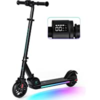 Macwheel Electric Scooter, Electric Scooter for Kids Age 8+, Colorful Rainbow Lights, LED Display, 3 Level Adjustable…