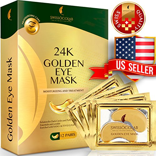 Under Eye Mask Gold Eye Mask Anti-Aging Hyaluronic Acid 24k Gold Eye Patches Under Eye Pads for Moisturizing & Reducing Dark Circles Puffiness Wrinkles ()