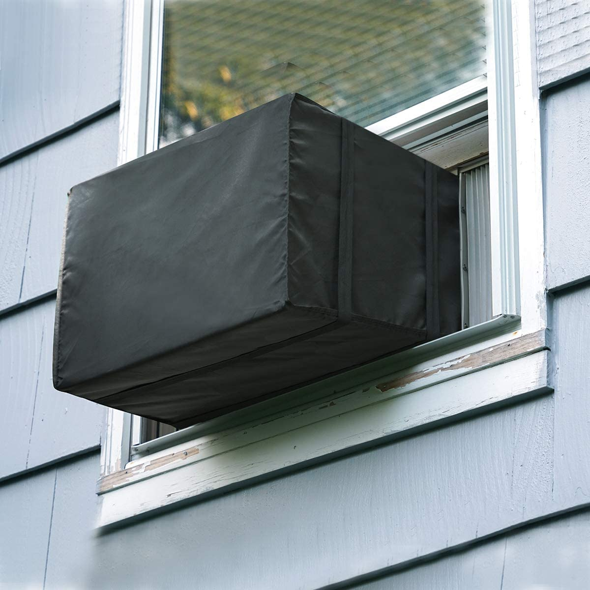 Luxiv Window Air Conditioner Cover Outdoor, Outside Window AC Unit Cover Black Dust-Proof Waterproof AC Cover Outdoor Window AC Protection Cover (21Wx16Dx15H)