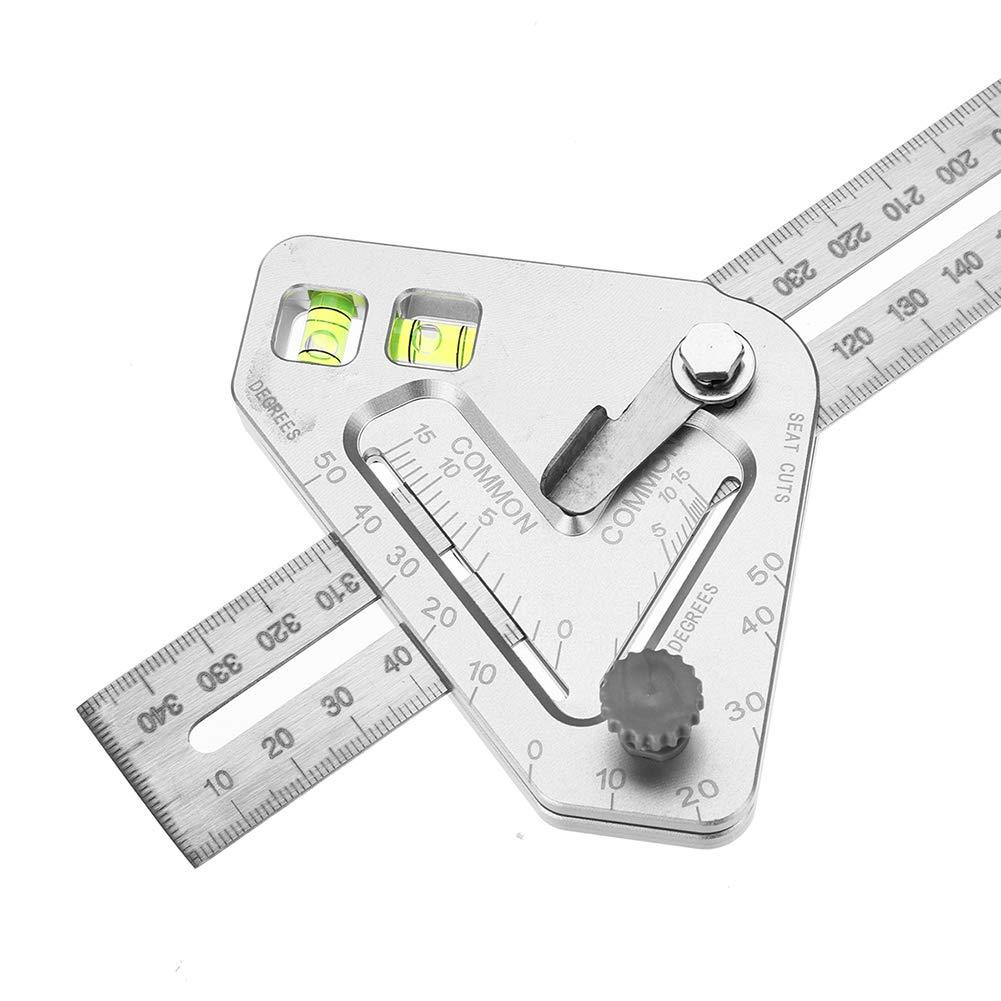 RSGK Goniometro per Righello Strumento di misurazione per ledilizia in Legno con Righello di misurazione Multi-Angolo Livello Multifunzionale Portatile in Lega di Alluminio metrico