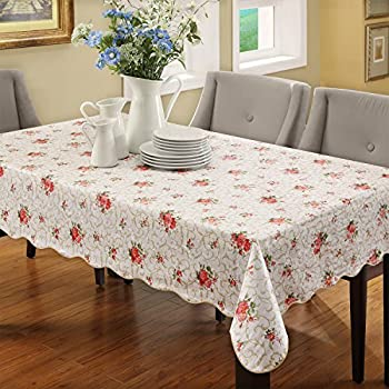 Ennas Cz094 Flannel Backed Vinyl Table Cloth Waterproof Oblong(rectangle)  (60 Inch