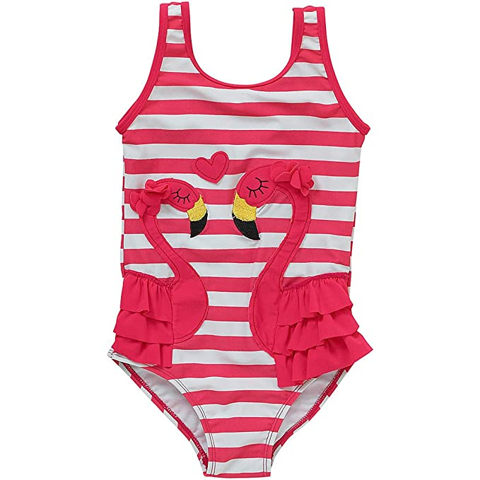 H2O Younger Girls Flamingo Striped Frill Bow Detail Swimsuit