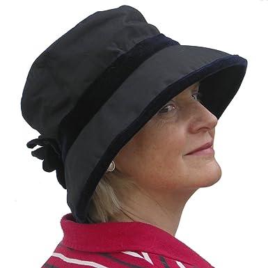 19c9f2b0ba5 Image Unavailable. Image not available for. Colour  Ladies Navy Velvet Trim  Bucket Wax Waterproof Winter Rain Hat