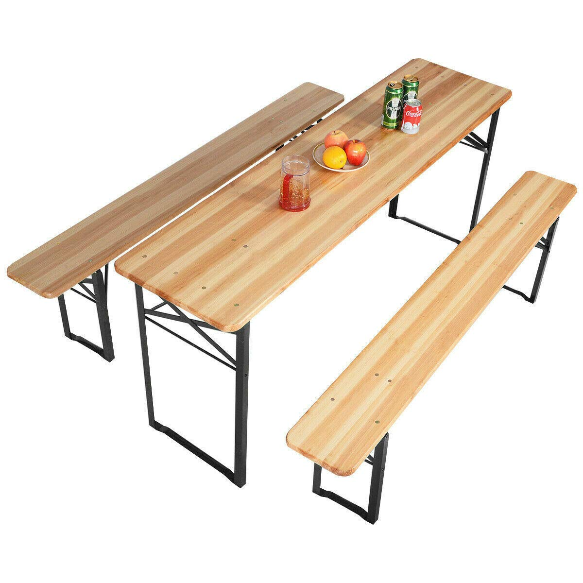 Alek...Shop Family Outdoor Picnic Sets Table Bench Dining Set Wood Courtyard Terrace Field Beer Party Folding Wooden Top Patio